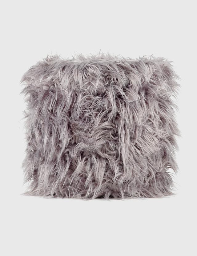 Crosby Studios Gray Furry Ottoman