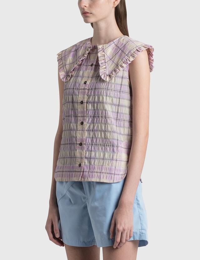 Ganni Seersucker Check Sleeveless Shirt Orchid Bloom Women