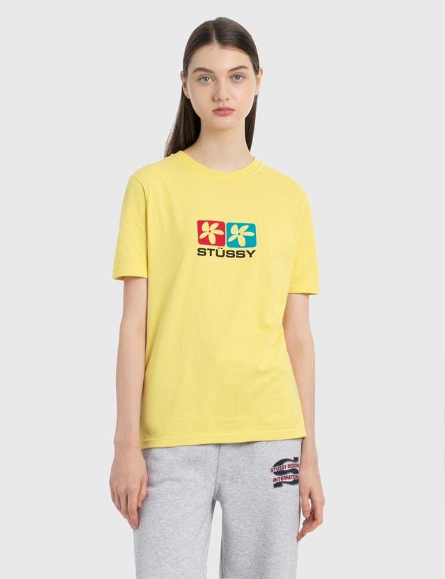 Stussy Flower Squares 티셔츠 Lemon Women