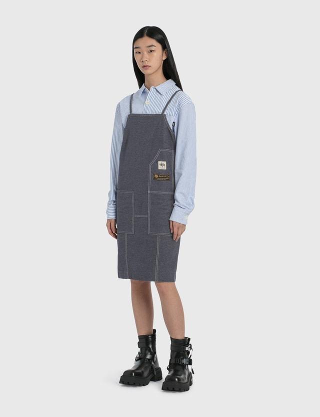 Stussy Big Button Oxford Long Sleeve Shirt Blue Women