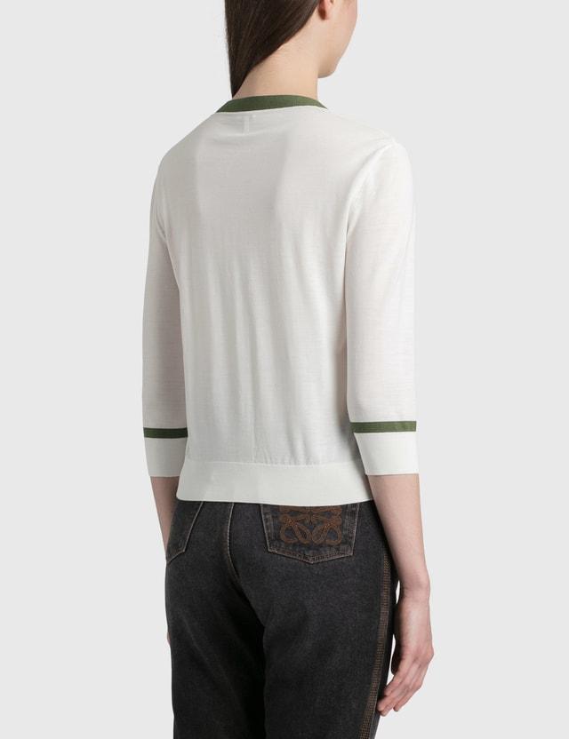 Loewe Loewe Cropped Cardigan White/khaki Green Women