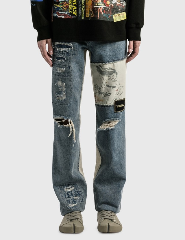We11done Blue Damage Washed Patch Work Denim Jeans