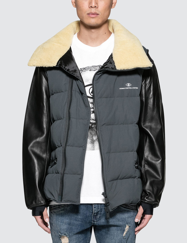 6ae3d63de2 Puffer Jacket with Shearling Collar and Leather Sleeve