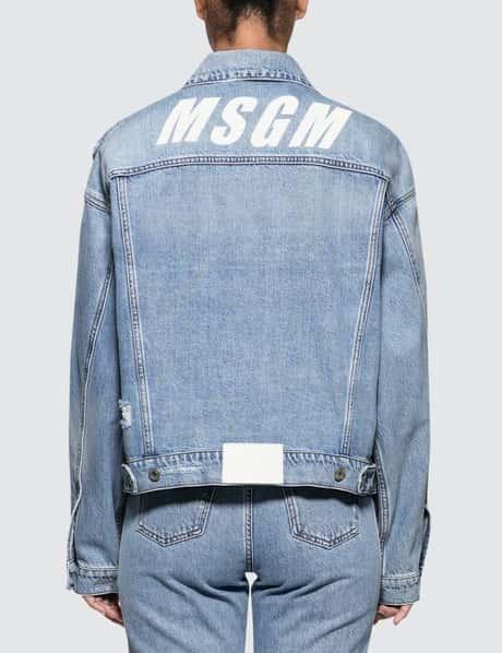 MSGM New Logo Msgm Light Blue Washed Denim Jacket