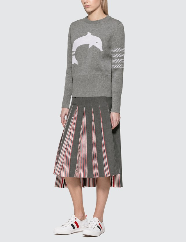 Thom Browne Dolphin Icon 4-Bar Crewneck Sweater