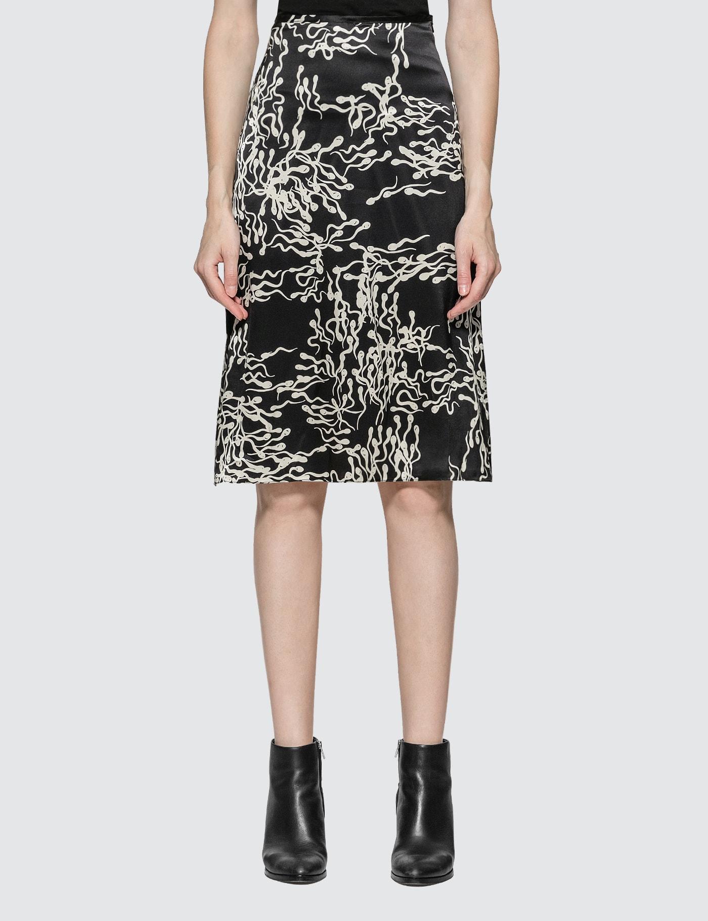 Ashley Williams Slip Sperm Print Silk Skirt