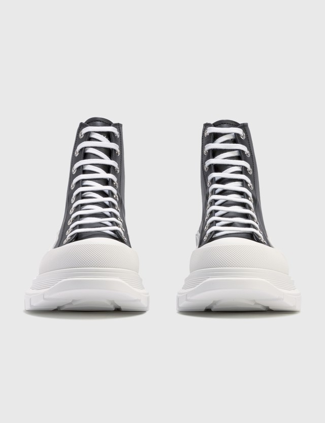 Alexander McQueen Tread Slick High Top Sneakers Black/white/silver Men