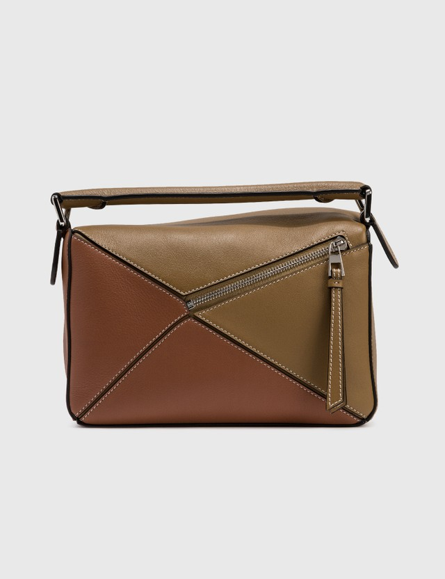 Loewe Small Puzzle Bag Ochre Green/soft White Women