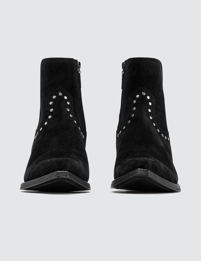 Saint Laurent Lukas Boots In Suede With Studs Black Men