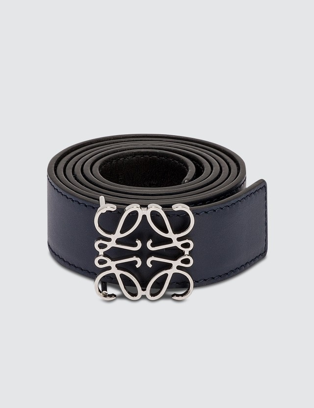 Loewe Anagram Belt Navy Blue/black/palladium Men