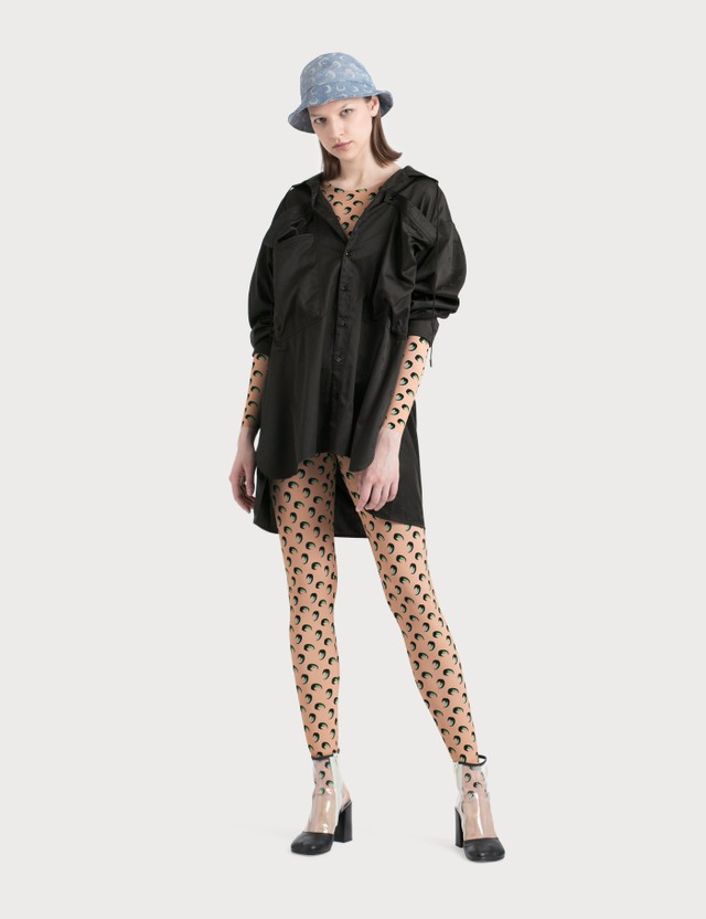 Marine Serre Oversized Shirt With Large Pockets Detail Black  Women