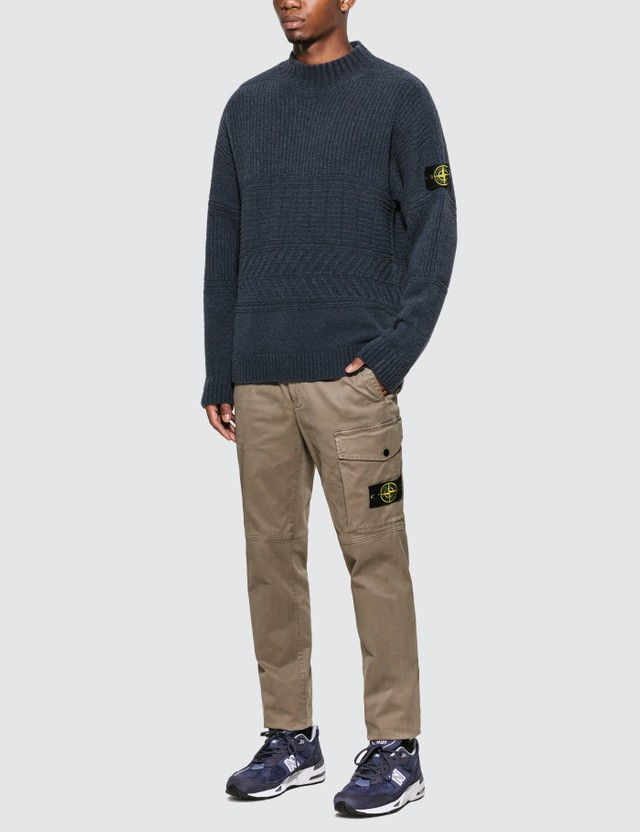 Stone Island Rib Knit Sweater With Compass Logo Badge