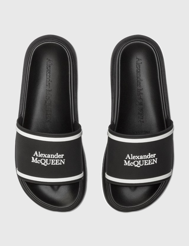 Alexander McQueen Oversized Hybrid Flip Slides Blk/white/white Women