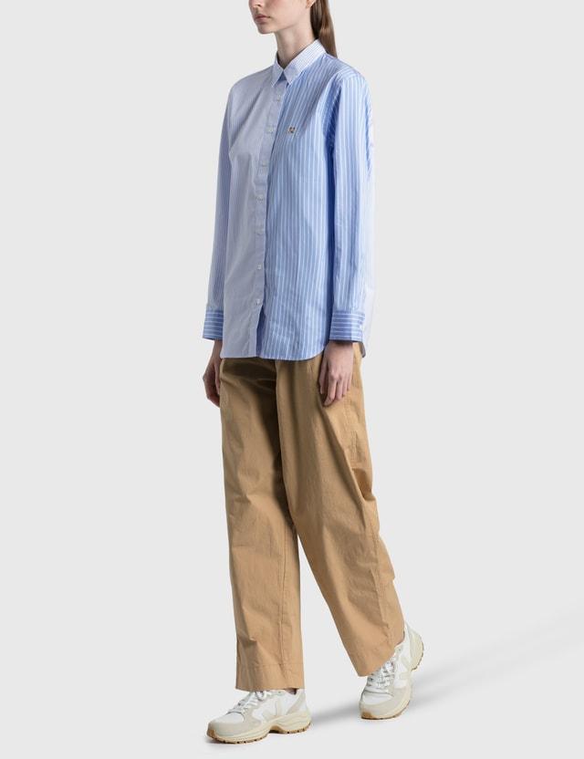 Maison Kitsune Fox Head Embroidery Classic Shirt Blue Stripe Bls Women