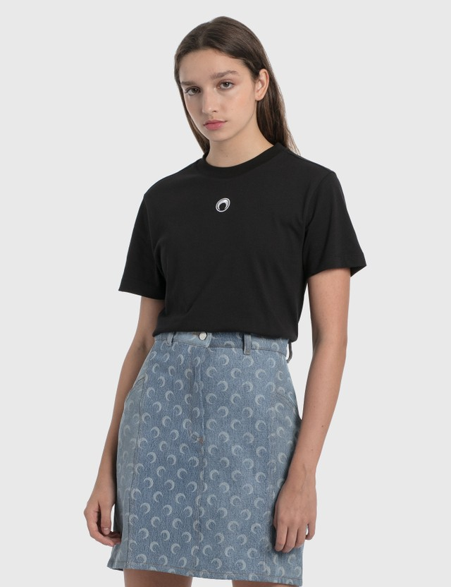 Marine Serre Large Fit T-Shirt 0 Black With White Print Women