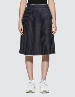 MM6 Maison Margiela Raw Denim Pleated Skirt
