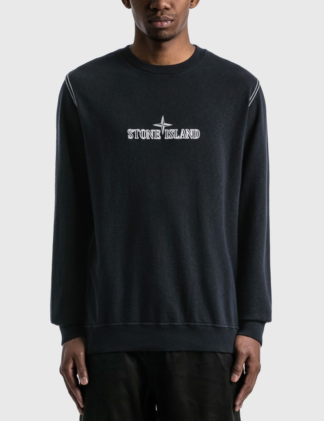 Stone Island Embroidered Logo Sweatshirt Navy Blue  Men
