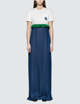 Prada Jersey and Chiffon Dress with Ruching