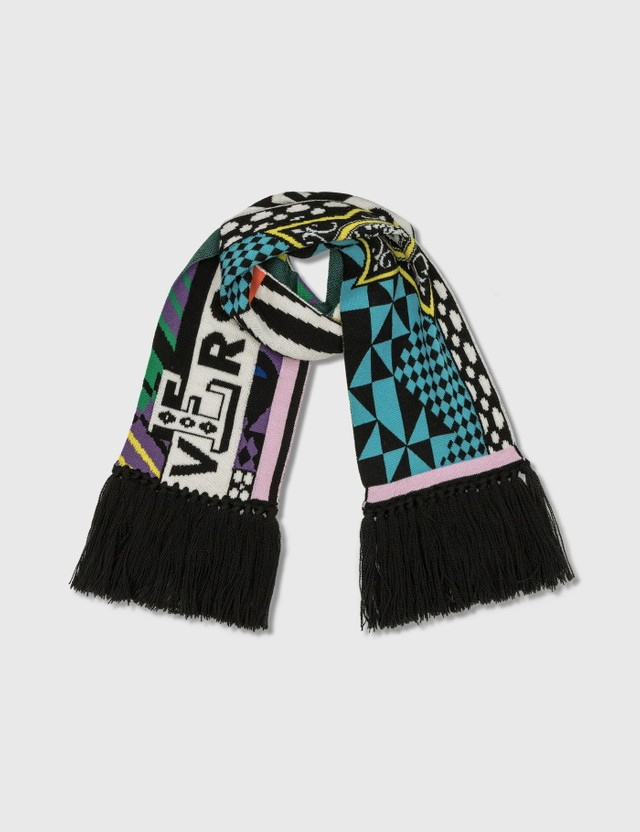 Versace Pop Temple Wool Jacquard Scarf Multicolor Men