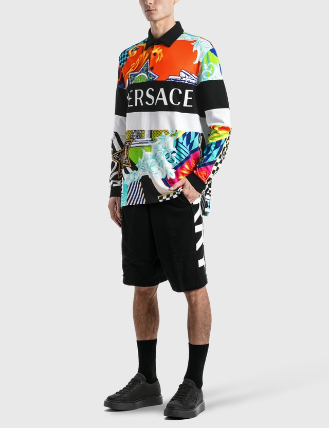 Versace Pop Temple Print Long Sleeve Polo Multicolor Men