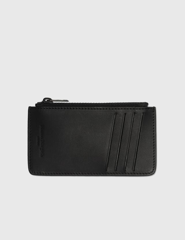 Maison Margiela Smooth Leather Zipped Card Holder Black Unisex