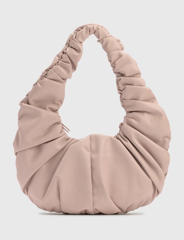 Nanushka Anja Baguette Ruched Vegan Leather Shoulder Bag Pale Pink Women
