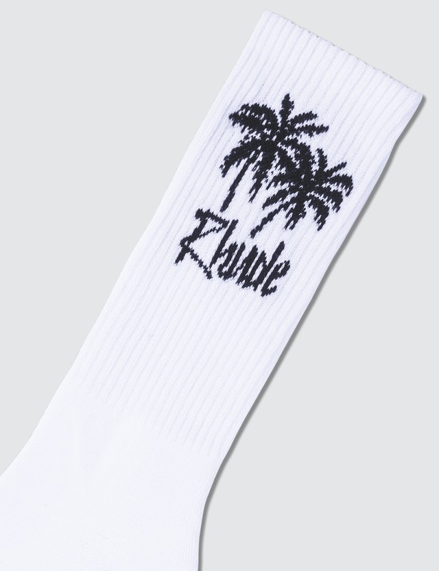 Rhude Knitted Palm Tree Print Socks