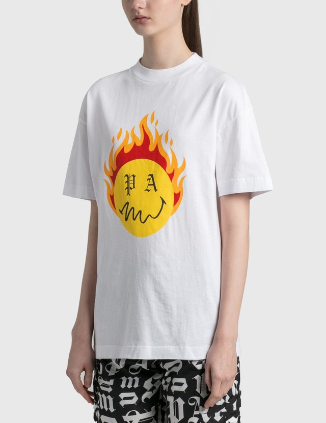 Palm Angels Burning Head T-Shirt White Yellow Women
