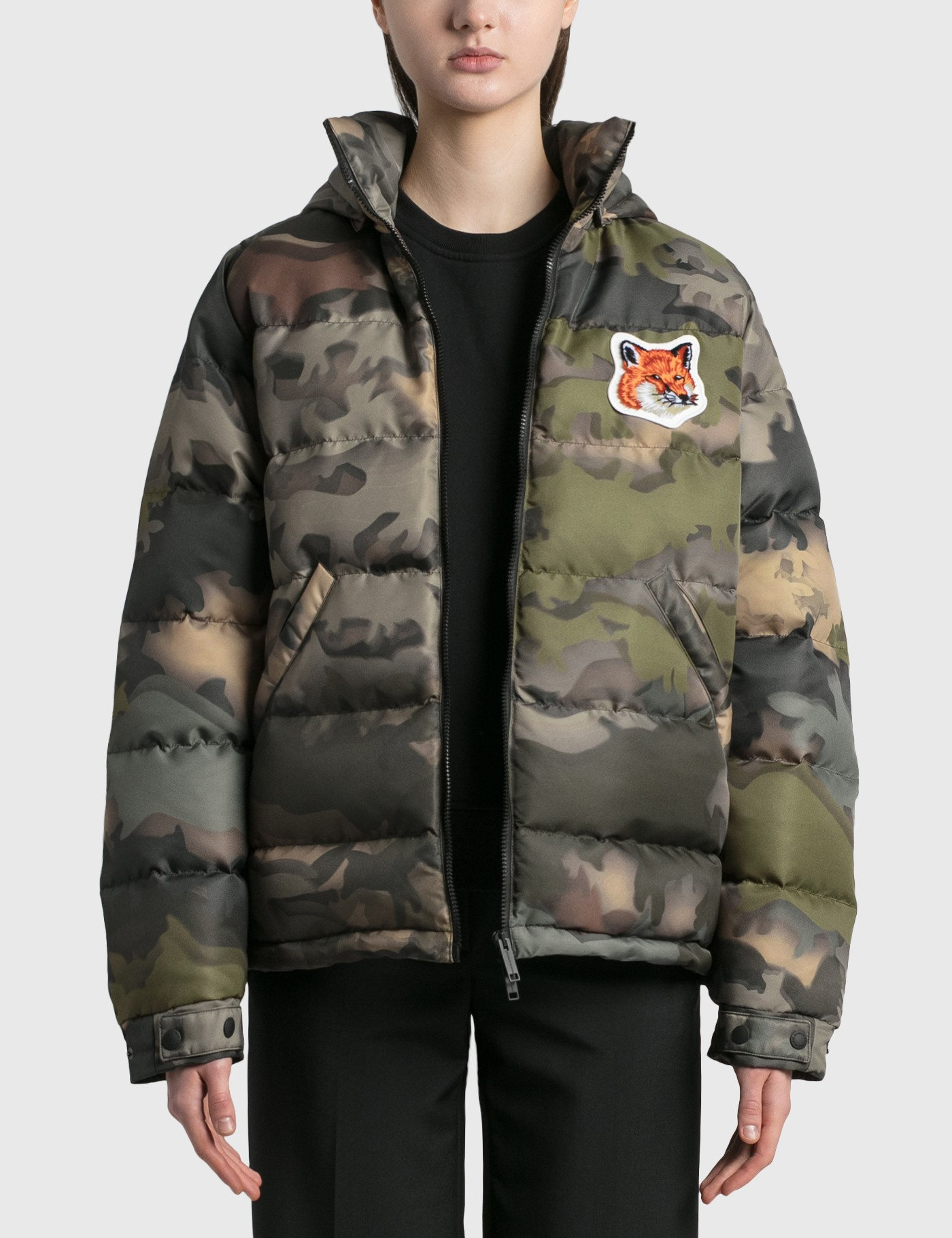 Maison Kitsuné Downs VELVET FOX HEAD PATCH SHORT DOWN JACKET