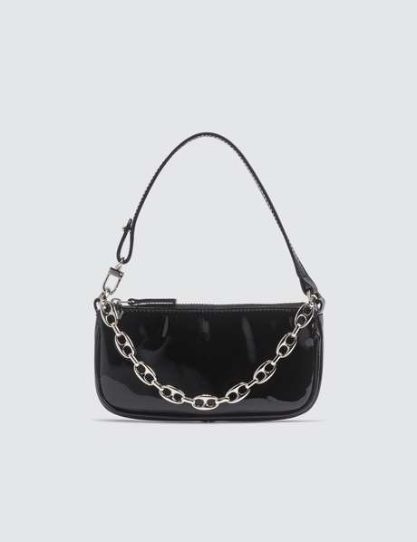 바이파 레이첼백 미니 - 블랙 유광 BY FAR Mini Rachel Black Patent Leather Bag
