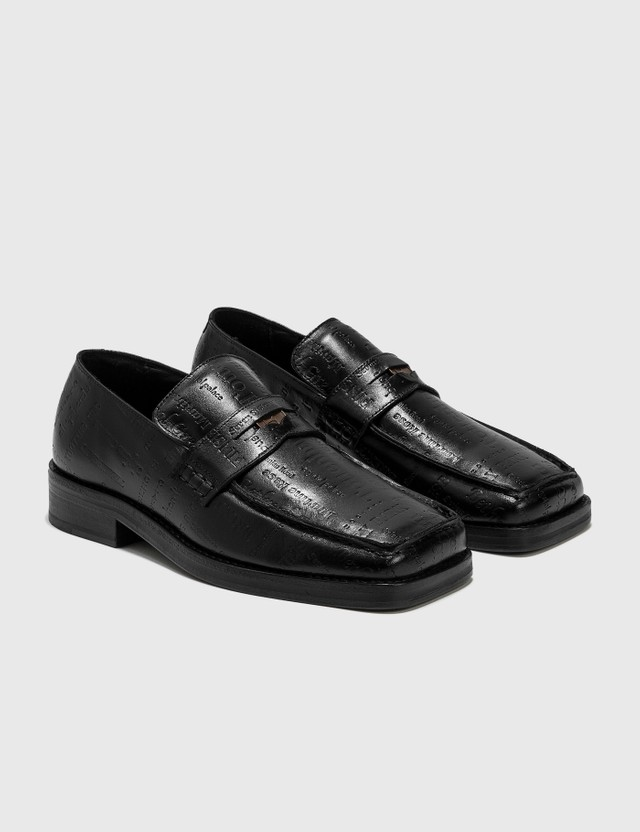 Martine Rose Embossed Text Roxy Loafer Black Women