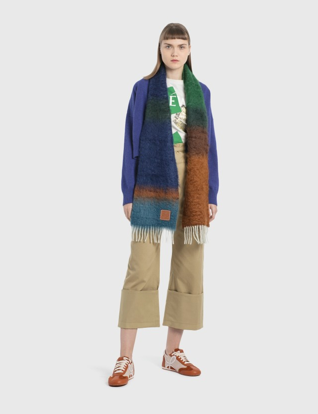 Loewe Stripe Scarf Dark Brown/dark Green Women
