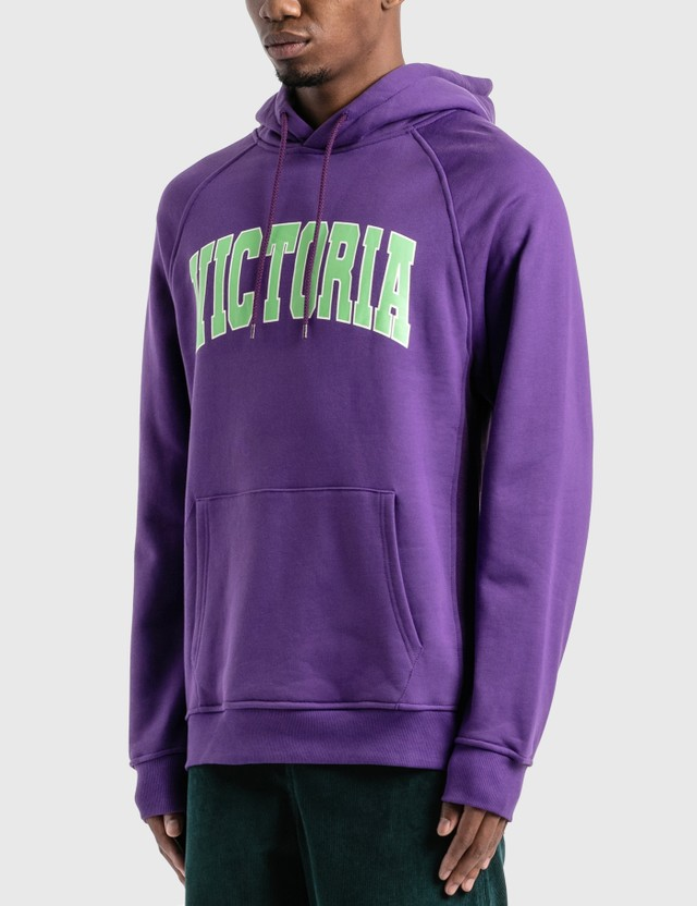 Victoria Varsity Fleece Hoodie Purple / Pistachio Men