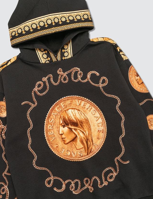 Versace Savage Barocco Motif Hoodie Black Kids