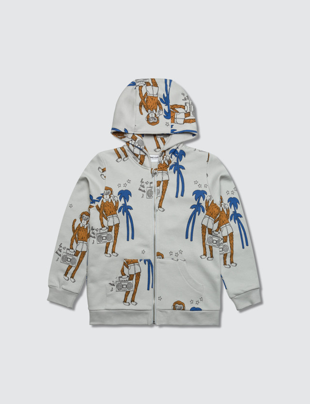 Mini Rodini Cool Monkey Aop Zip Hoodie