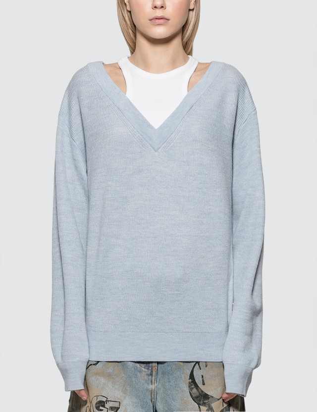 Alexander Wang.T Classic Bi-layer Off Shoulder Sweater With Inner Tank
