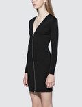 Alexander Wang.T Stretch Faille Ponte L/S Dress With Front Zipper