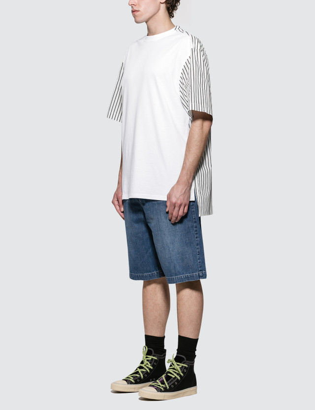 Lanvin Short Shirt Back Fabric Mix S/S T-Shirt
