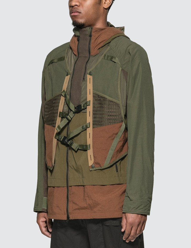 White Mountaineering Layered Hooded Jacket Khaki Men