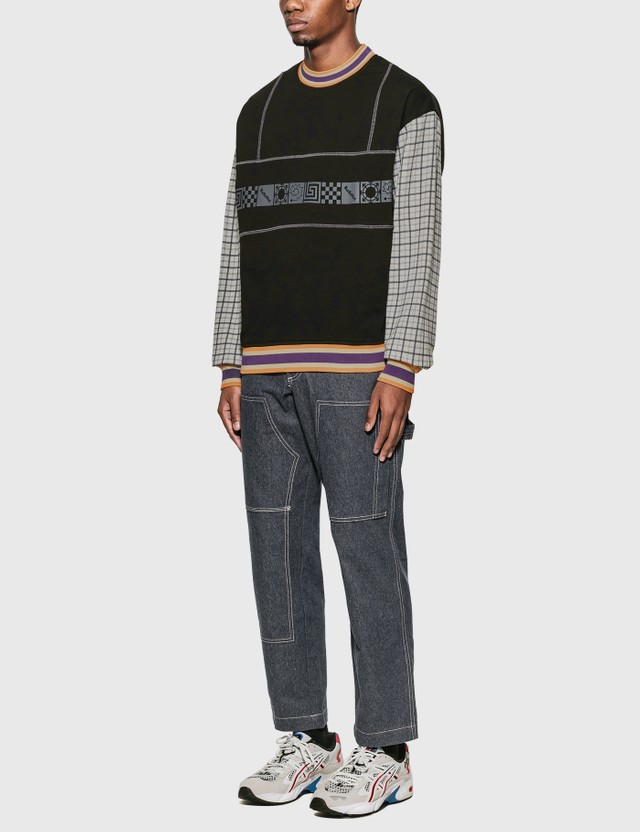 Rassvet Graphic Print Sweatshirt With Check Sleeves Black Men
