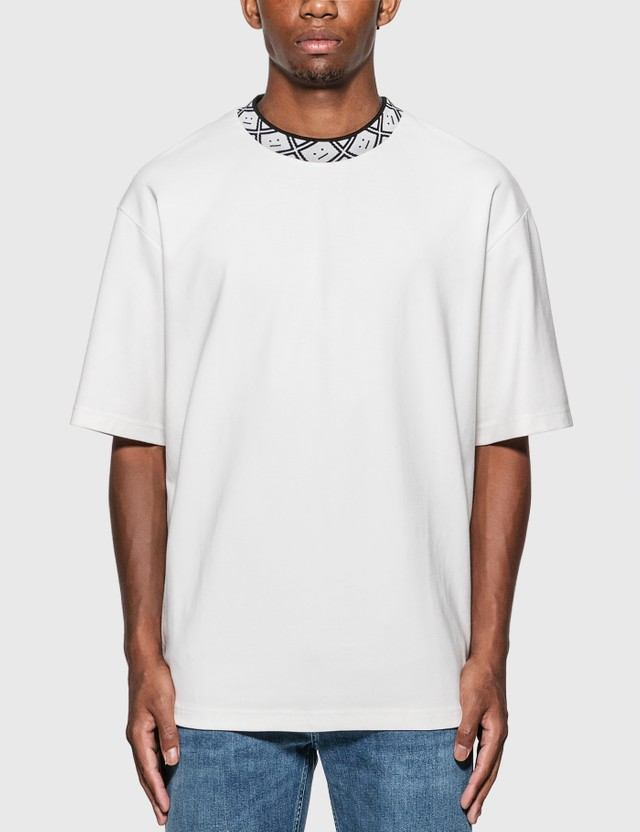 Acne Studios Face Motif Mock Neck T-Shirt Optic White Men