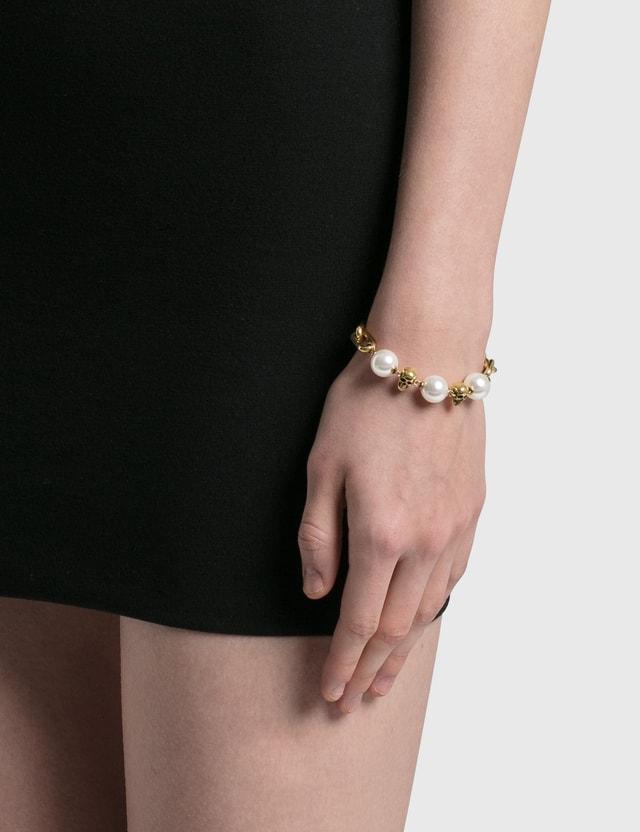 Alexander McQueen Pearl-like Skull Chain Bracelet Mix Women