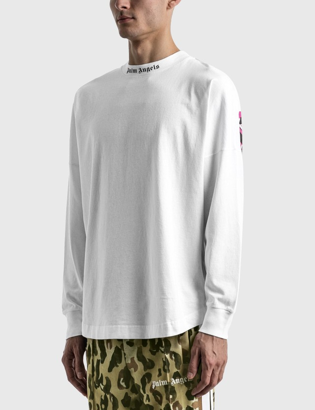 Palm Angels Doubled Logo Over Long Sleeve T-shirt White Men
