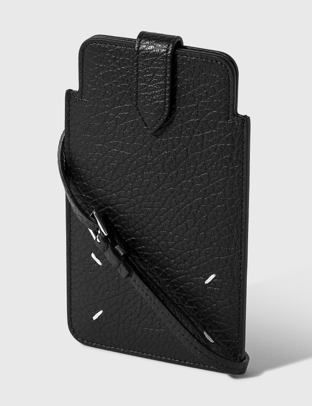 Maison Margiela Grainy Embossed Leather Phone Pouch Black Women