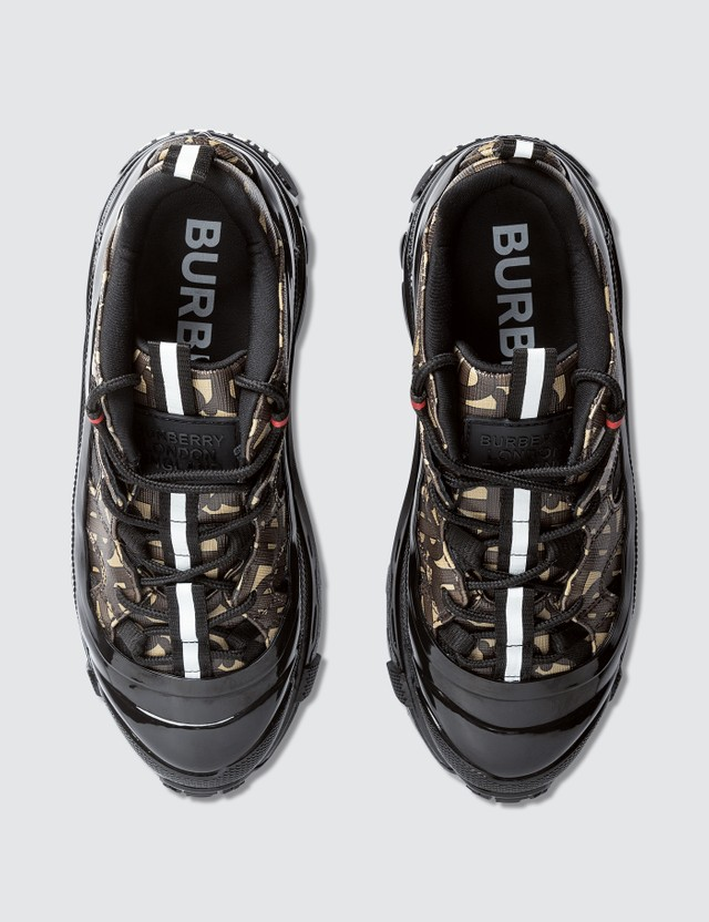 Burberry Monogram Print E-canvas Arthur Sneakers Bridle Brown Women