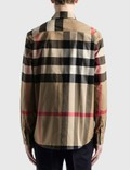 Burberry Love Print Check Stretch Cotton 오버사이즈 셔츠 Archive Beige Ip Chk Men