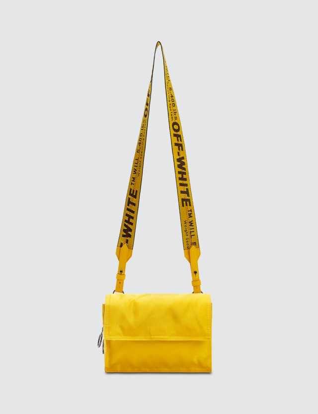 Off-White Zipped Nylon Binder Clip Bag