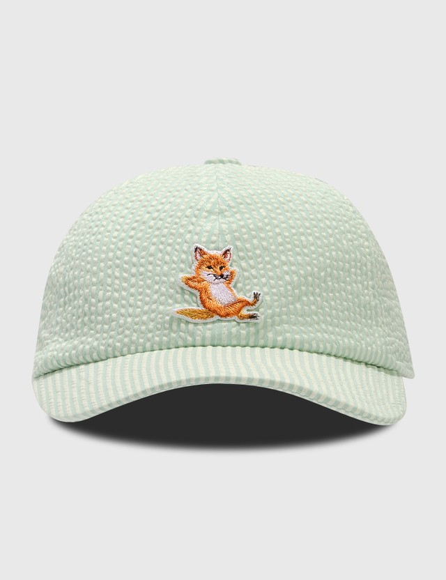Maison Kitsune Chillax Fox Cap Green Stripe Gns Women