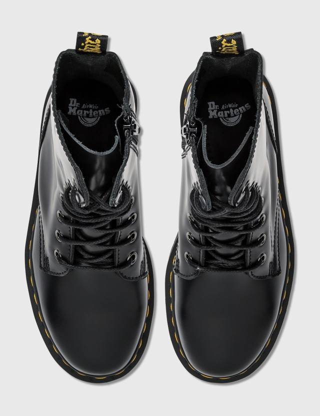Dr. Martens Jadon Smooth Leather Platform Boots Black Polished Smooth Women