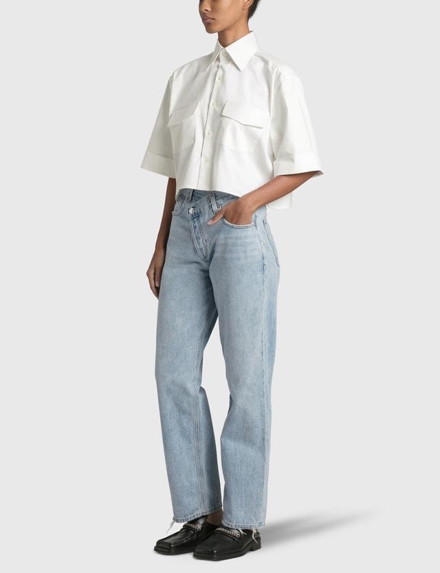 Woera Safari Cropped Shirt White Denim Women